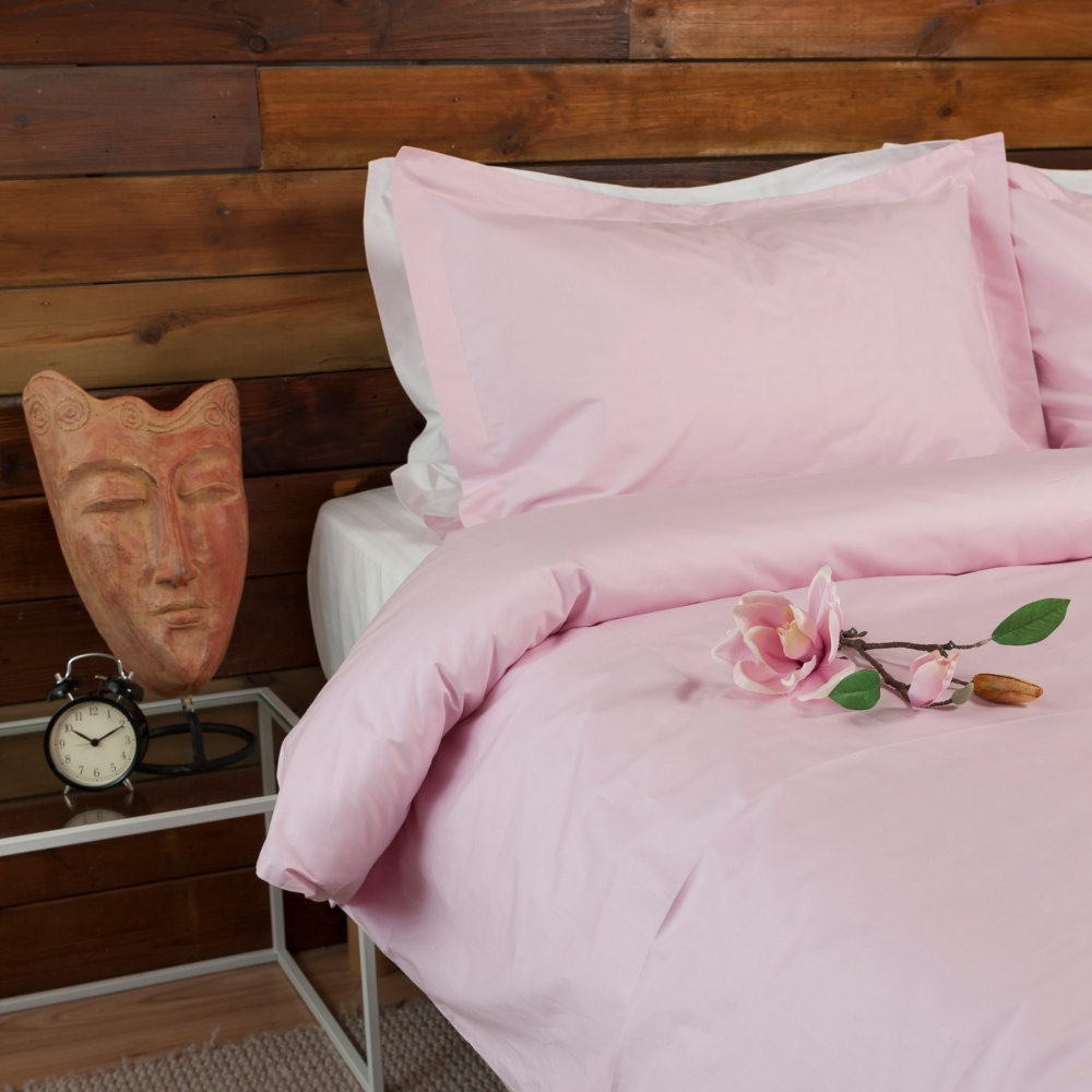 Powder Pink Percale Duvet Cover Set