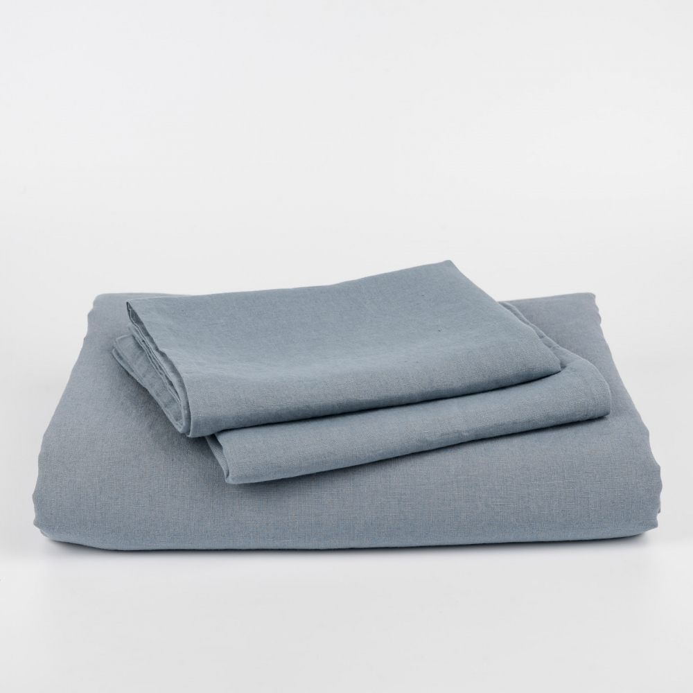 Stone Blue Linen Duvet Cover Set