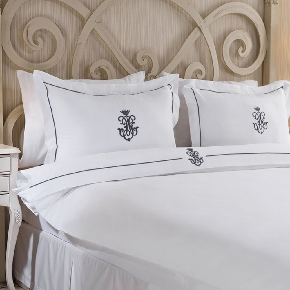 Royal Collection Black Embroidered Duvet Cover Set