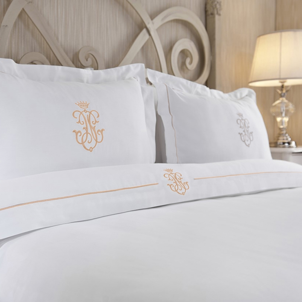 Royal Collection Gold Embroidered Duvet Cover Set