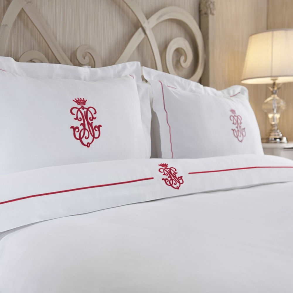 Royal Collection Red Embroidered Duvet Cover Set