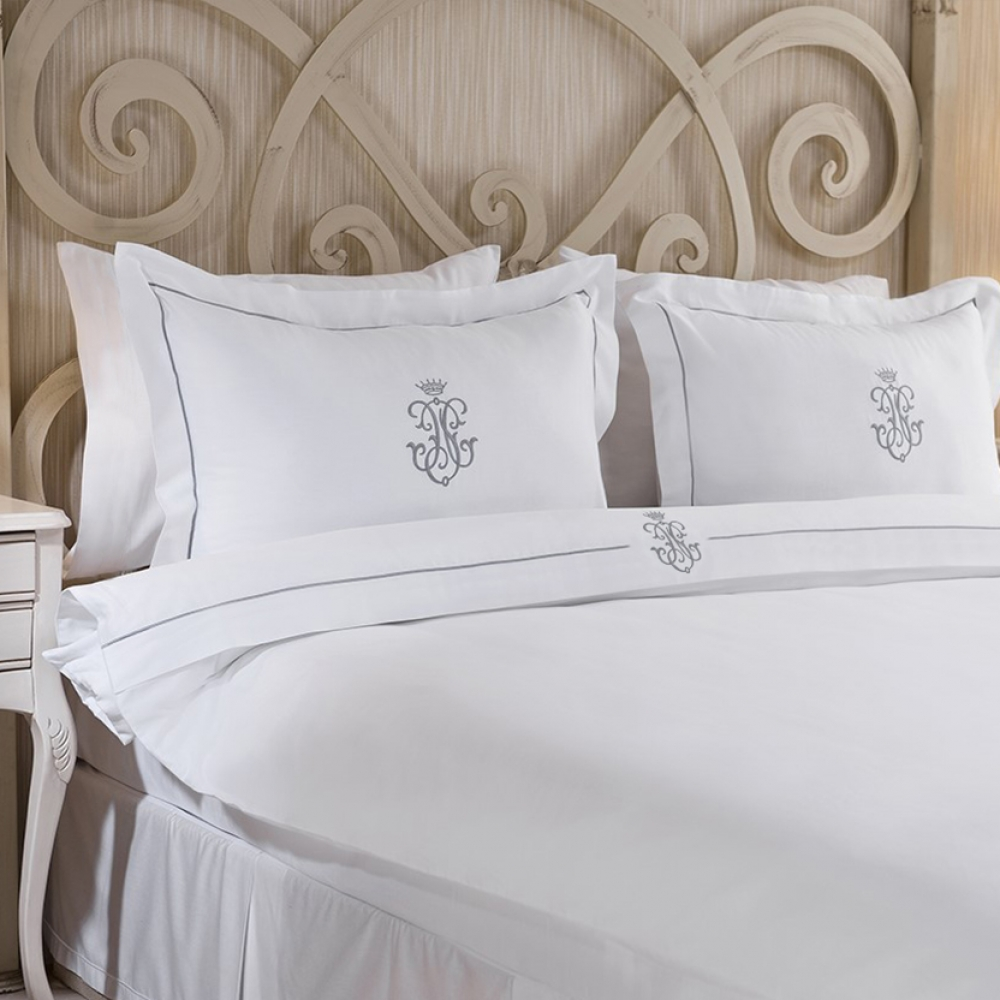 Royal Collection Silver Embroidered Duvet Cover Set