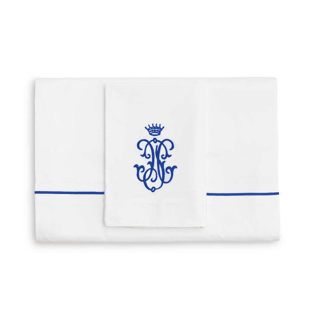 Royal Collection Blue Embroidered Duvet Cover Set