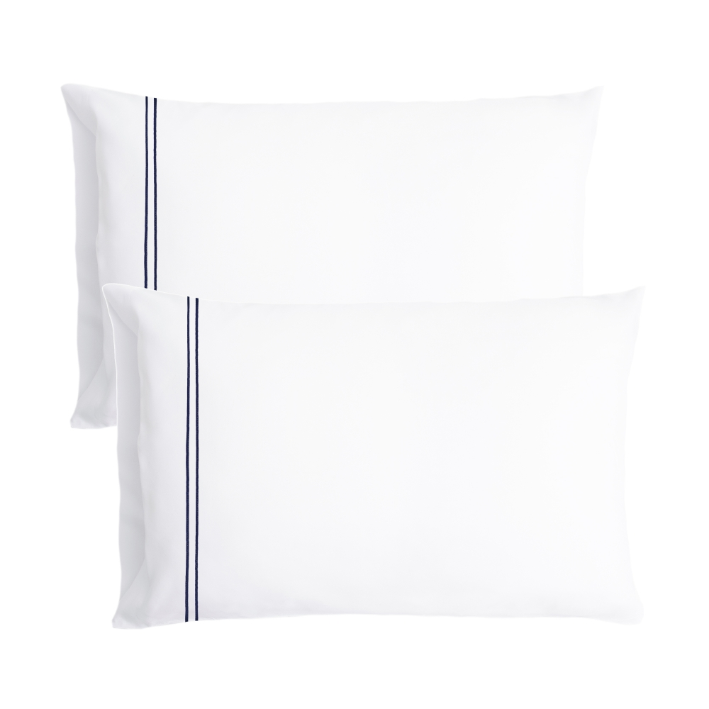 Percale Pillow Cases with Dark Blue Satin Stitching