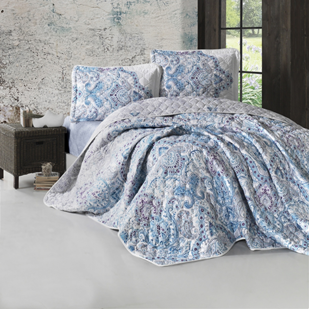 LateMornings Cotton Bedspread 3 Piece Quilt Set Paliza
