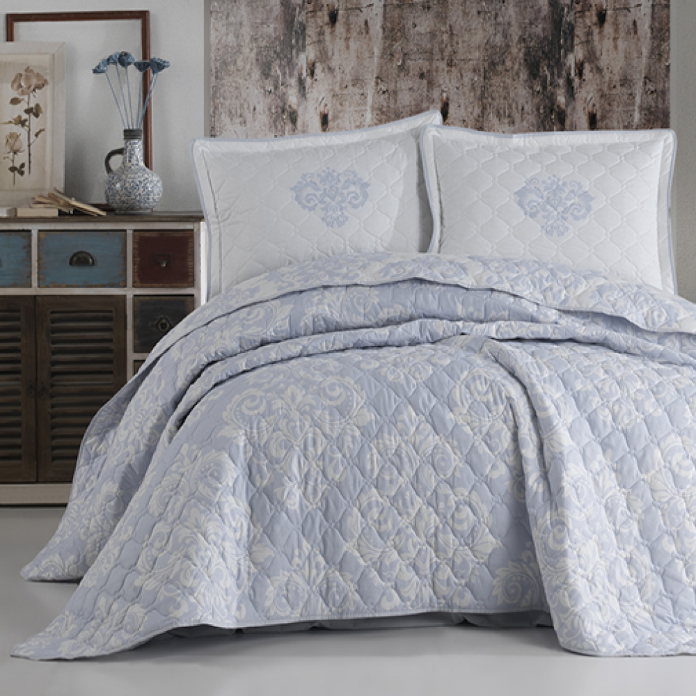 LateMornings Cotton Bedspread 3 Piece Quilt Set Sade