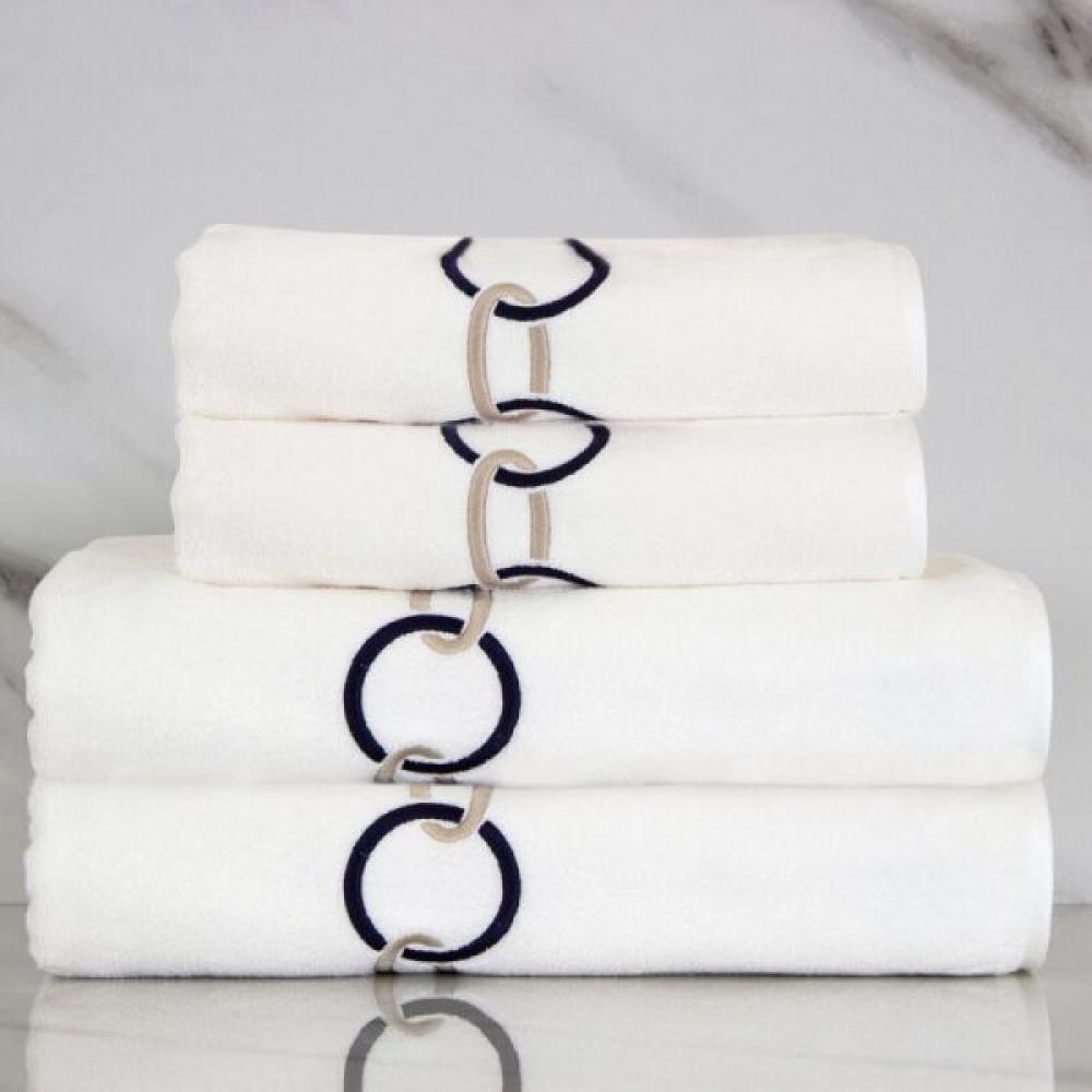 Dark Blue Chain Embroidery Bath Towel Set