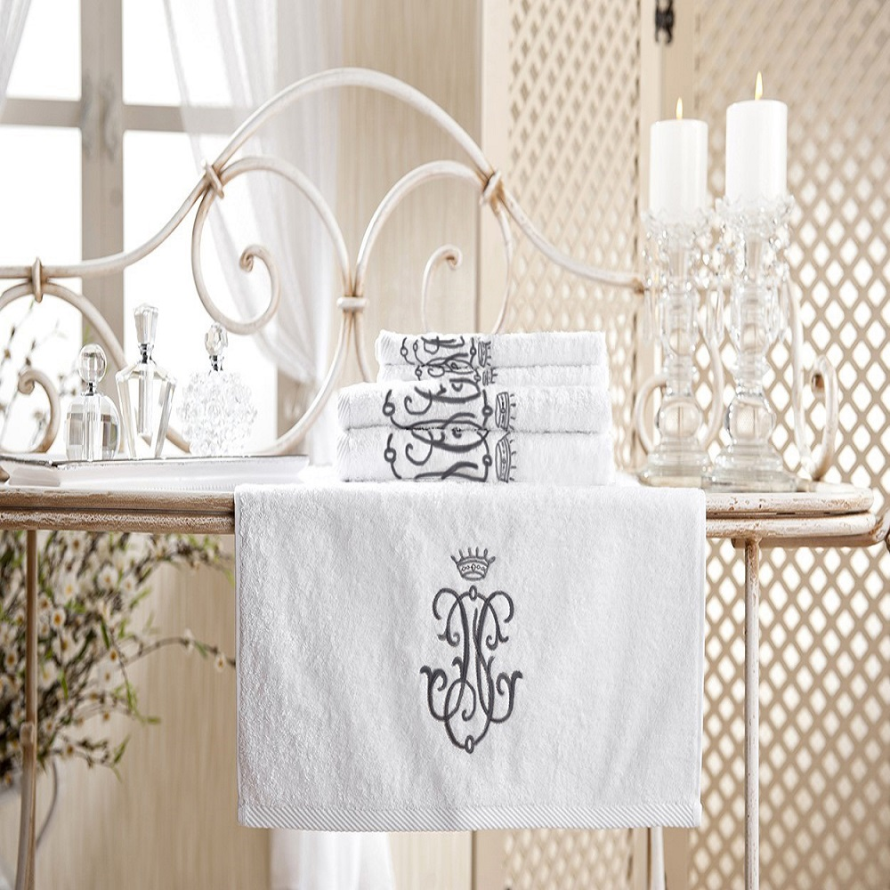 Royal Collection Bath Towel Set Black Monogram