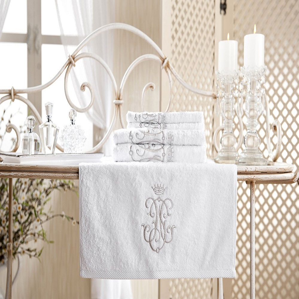 Royal Collection Bath Towel Set Silver Monogram